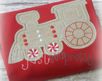 Gingerbread Train Boy Embroidery Applique Design