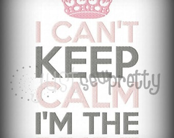 Can't Keep Calm I'm The Bride Embroidery Design