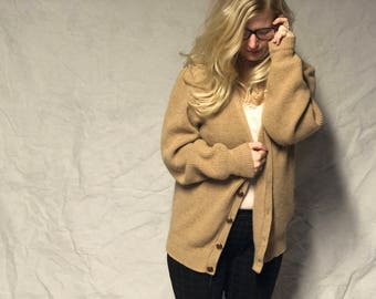 70s Grandpa Cardigan neutral tan with wood buttons  Wool and Acrylic