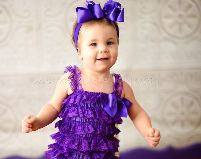 Purple Lace Romper,Petti Lace Romper Purple,Ruffle Purple Baby Romper,Lace Infant Toddler Outfit,Photography Prop for Baby Girls,Lace Baby