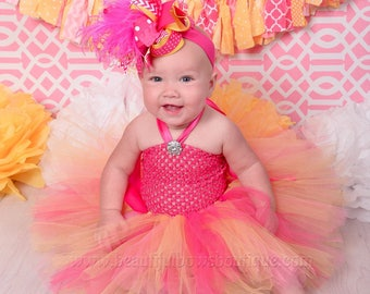 Pink and Orange Birthday Outfit,Baby Girl First Birthday Outfit,Peach and Pink First Birthday Outfit,Summer Birthday Girl Tutu Set Birthday