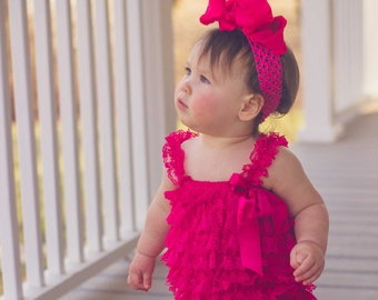 0529a9d63 Hot Pink Lace Romper,Petti Lace Romper Pink,Ruffle Hot Pink Baby Romper,Lace  Infant Toddler Outfit,Photography Prop for Baby Girls.Lace Baby