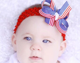 July 4th Baby Headband,Flag Baby Headband,4th of July Infant Headband,1st 4th of July,Red White Blue Baby Bow Headband,Independence Day Bow