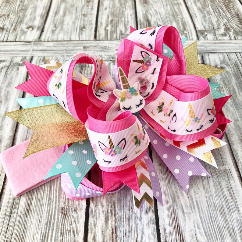 Unicorn Birthday Party,Unicorn 1st Birthday,Unicorn Hair Clip,Unicorn Stacked Hair Bow Party Favor OTT Unicorn Hair Bow,Unicorn Headband