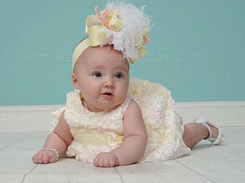 Baby Girl Headbands Rabbit Ears Easter Yellow Bow Newborn Toddler