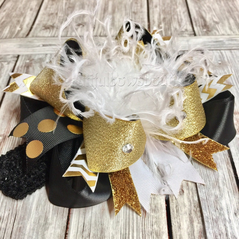 Big Boutique White Black and Gold Over the Top Hair BowBlack  3b1566cff3d