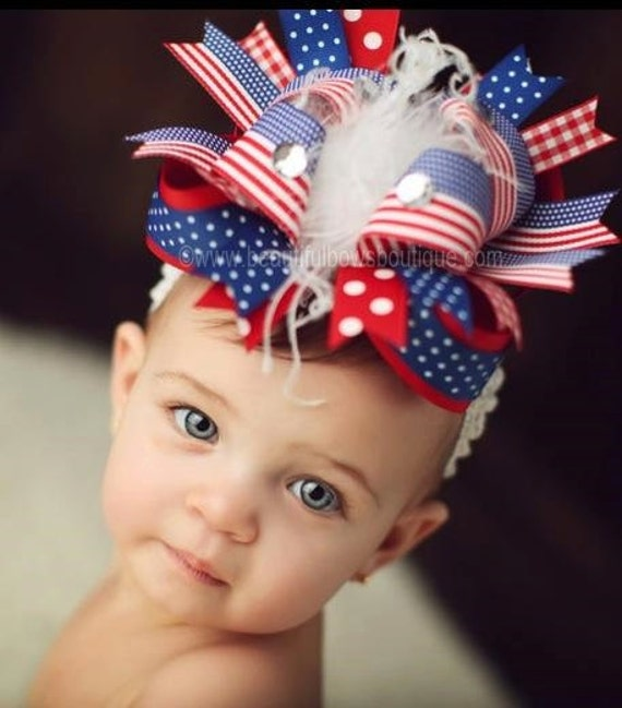 Toddlers Girls Boutique Hair Bow  or Headband 4th of July //Patriotic Babies
