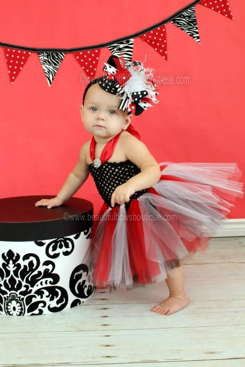 4911d26ebe2b Girls Red and Black Baby Tutu DressHoliday Baby Girl Tulle