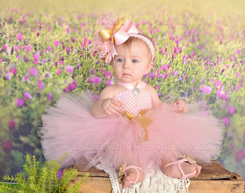98c52db7c0f6 Pink and Gold Baby Tutu Dress and Hair Bow SetBirthday Tutu