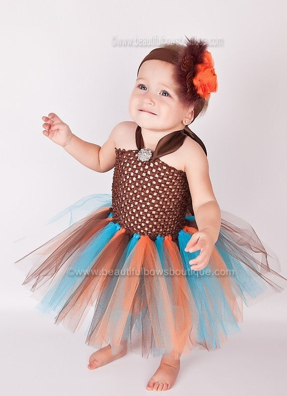 98dddf6a1282 SALE Fall Baby Tutu Dress Turquoise Orange Brown Thanksgiving