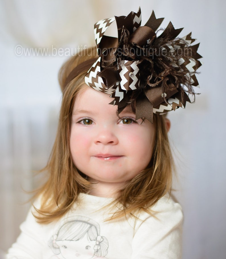Over the Top Headband White and Brown Chevron Over the Top Hair Bow 6 inch Hair Bow Baby Headband