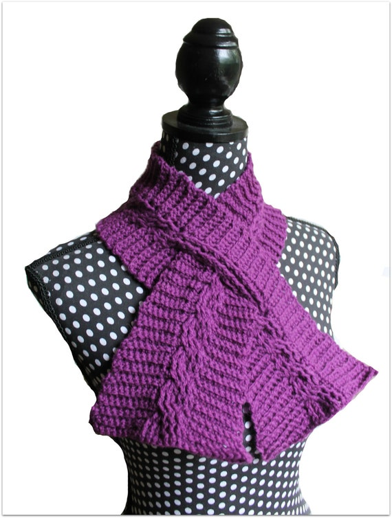 Download Now Crochet Pattern Cable Keyhole Scarf Pattern Etsy