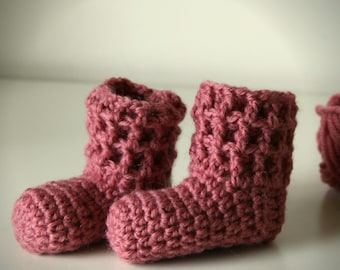 Download Now - CROCHET PATTERN Waffle Cuff Booties - 0-3 mos, 3-6 mos, 6-12 mos - Pattern PDF