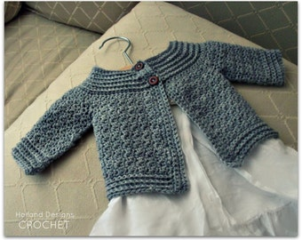 Download Now - CROCHET PATTERN Classic Baby Cardigan - Sizes 0-12 mos - Pattern PDF
