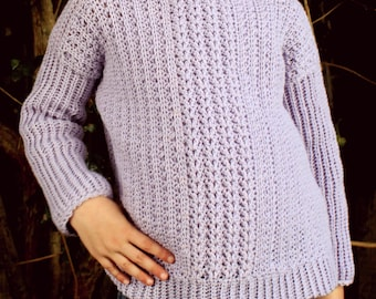 Download Now - CROCHET PATTERN Simple Cable Pullover - Sizes 0-3 Mos to 12 Years - Pattern PDF