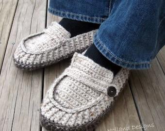 Download Now - CROCHET PATTERN Modern Mens Loafers / Slippers - Pattern PDF