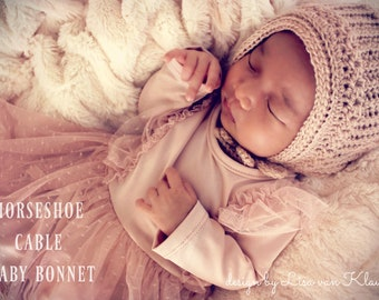 Download Now - CROCHET PATTERN Horseshoe Cable Baby Bonnet - Sizes Newborn up to 2-5T - Pattern PDF
