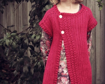 Download Now - CROCHET PATTERN Girls Simple Cable Cardigan - Sizes 1-12 years - Pattern PDF