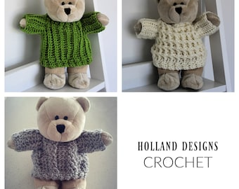 """Download Now - CROCHET PATTERN Outfits for Bear - 11"""" Chest - Pattern PDF"""