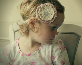 Download Now - CROCHET PATTERN Doily Flower Headband - Sizes Baby to Adult - Pattern PDF