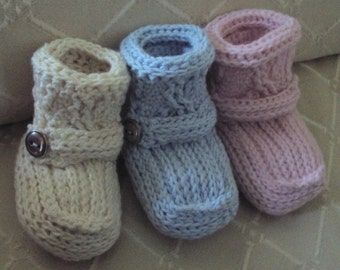Download Now - CROCHET PATTERN Cabled Cuff Baby Booties - Pattern PDF