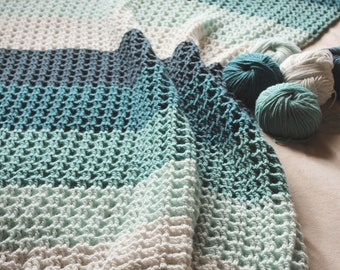 Download Now - CROCHET PATTERN Crochet Me A River Throw - Make to Any Size - Pattern PDF
