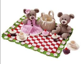 Download Now - Teddy Bears Picnic Playset - Amigrumi - Crochet Pattern PDF