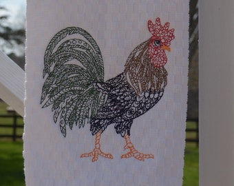 Embroidered Rooster Kitchen Towel Farm Decor