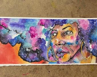 Original Painting Mixed Media Watercolor Galaxy Girl