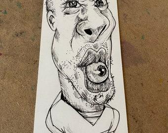Original Ink Drawing Freaky Eyeball Eater Alien  Boy