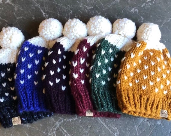 Knit Fair Isle Speckle Hearts Sweater Pattern Pom Pom Beanie Hat With Cream Top