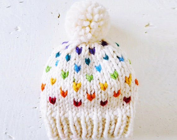 Knit Rainbow Fair Isle Speckle Hearts Pom Pom Beanie Hat — Cream