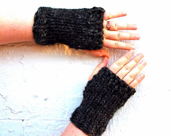 Knit Fingerless Mittens, Wrist Warmers