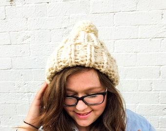 Chloe Kim Olympics Team USA inspired hat — super chunky knit beanie with  pom pom b306f165307