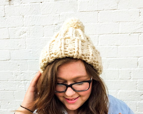 Chloe Kim Olympics Team USA inspired hat — super chunky knit beanie with pom pom
