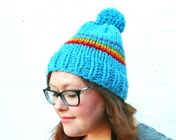 The Lorelai — Knit Rainbow Pride Pom Pom Beanie Hat— Sky Blue