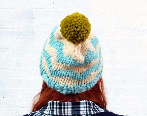 Knit Chevron Fair Isle Sweater Pattern Pom Pom Beanie Hat - Icy Blue, Cream, and Pea Green