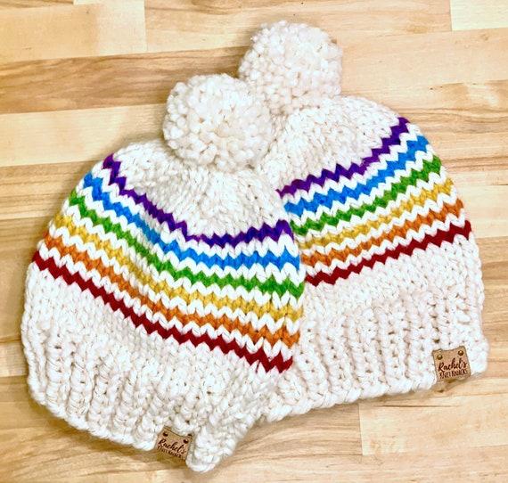 Knit Rainbow Stripes Pom Pom Beanie Hat — Cream