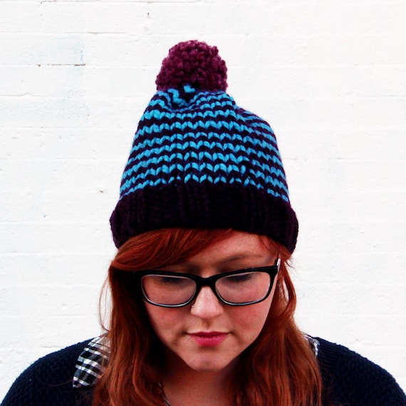 Knit Striped Pom Pom Beanie Hat - Deep Purple, Sky Blue, and Fig Purple