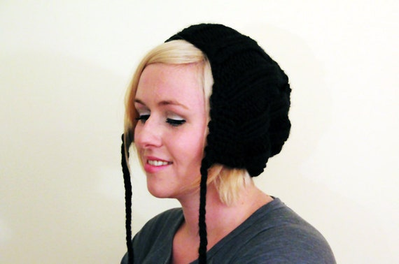 Knit Slouchy Earflap Hat - Black
