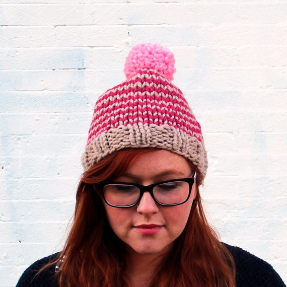 Knit Striped Pom Pom Beanie Hat - Beige, Raspberry Pink, and Blossom Pink
