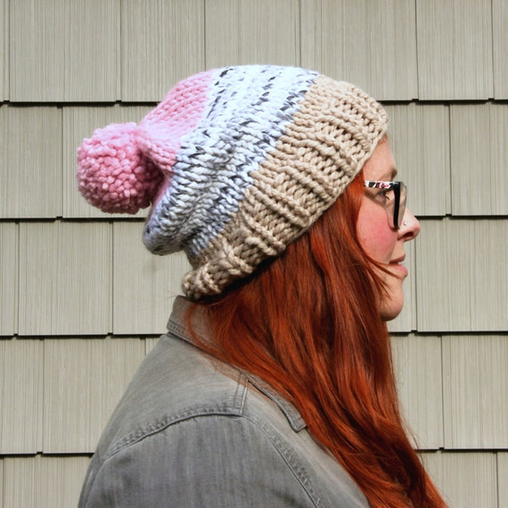 Knit Three-toned Pom Pom Slouchy Beanie Hat - Ecru, Slate, Blush