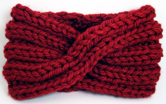 Chunky Knit Turban Headband Earwarmer - Deep Red