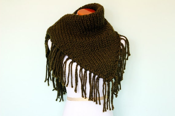 Hand Knit Extra Large Triangle Fringe Scarf Shawl - Olive Green