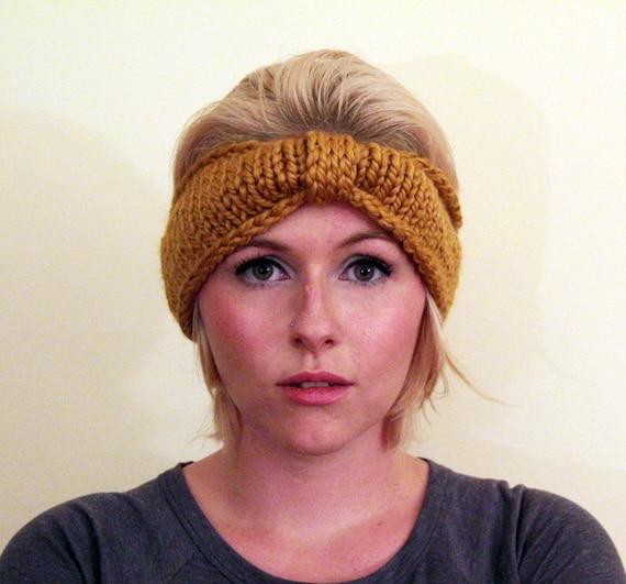 Turban Knot Bow Headband Earwarmer - Mustard Yellow
