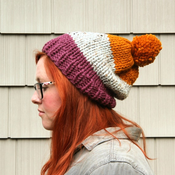 Knit Three-toned Pom Pom Slouchy Beanie Hat - Plum, Ash, Butternut
