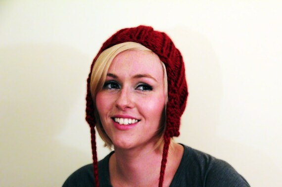 Slouchy Earflap Hat - Deep Red