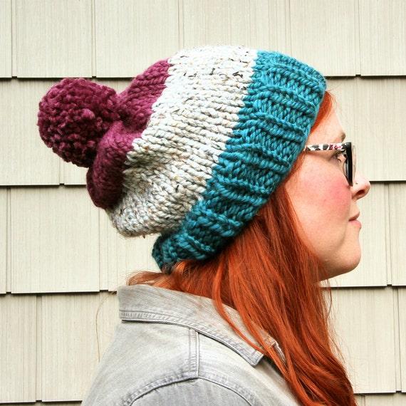 Knit Three-toned Pom Pom Slouchy Beanie Hat - Sapphire, Ash, Plum