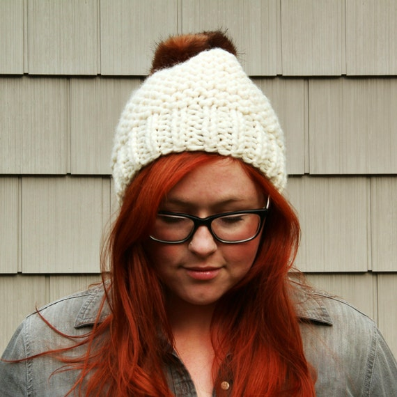 Faux Fur Pom Pom Textured Beanie Hat - Cream and Brown