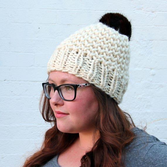a4a6e7e6278 Faux Fur Pom Pom Honeycomb Textured Beanie Hat Cream and
